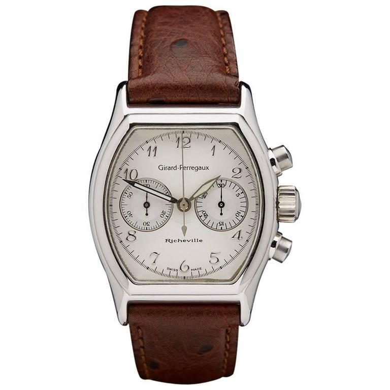 Girard Perregaux White Gold Richeville Chronograph Wristwatch