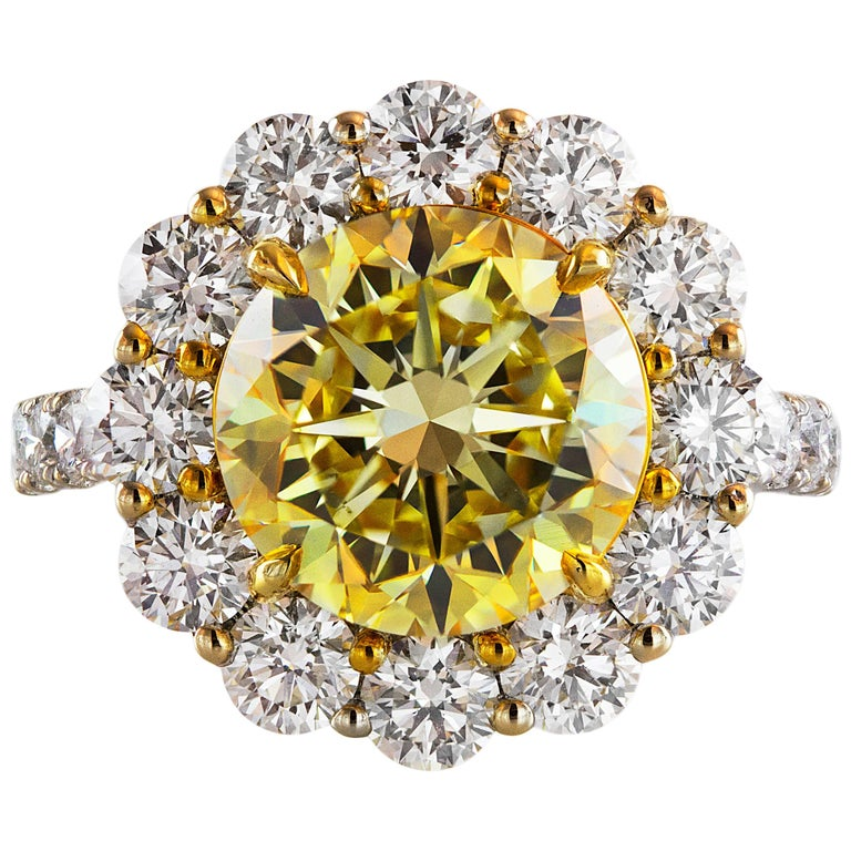 GIA Certified 4.47 Carat Fancy Intense Yellow Diamond Ring For Sale