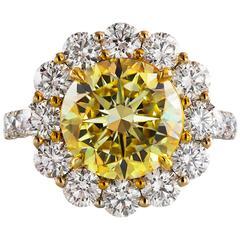 GIA Certified 4.47 Carat Fancy Intense Yellow Diamond Ring