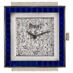Piaget Ladies White Gold Pave Diamond Dial Lapis Lazuli Bezel Wristwatch