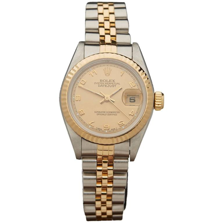 Rolex Ladies Yellow Gold Stainless Steel Datejust Automatic Wristwatch  For Sale