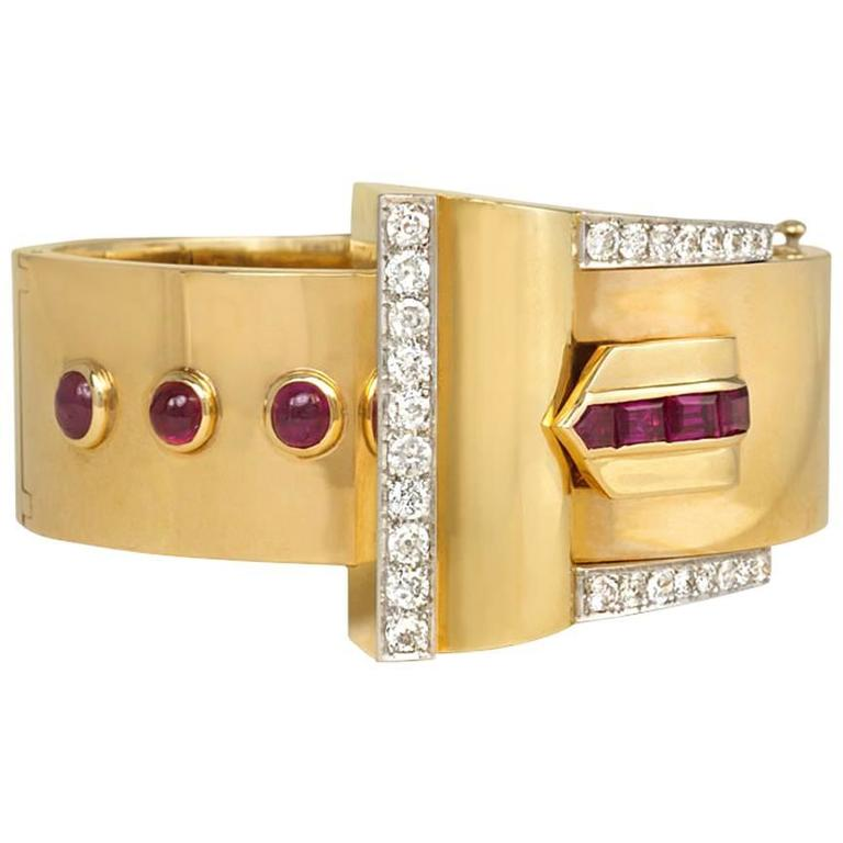 Retro Diamond Ruby Gold Cuff