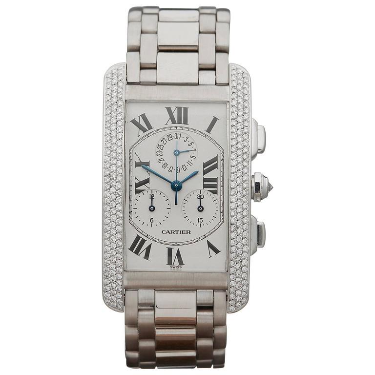 Cartier White Gold After Set Pave Diamonds Tank Americaine Quartz Wristwatch