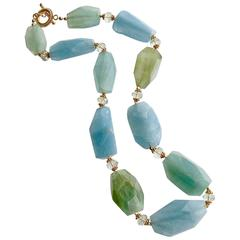 Aquamarine Nuggets Prasiolite Necklace
