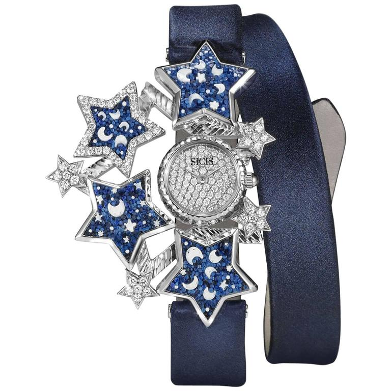 Sicis Ladies Yellow Gold Diamonds Blue Micromosaic Quartz Wristwatch For Sale