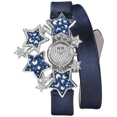 Sicis Ladies Yellow Gold Diamonds Blue Micromosaic Quartz Wristwatch