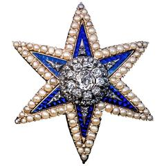 Antique Diamond Enamel Pearl Star Brooch Pendant