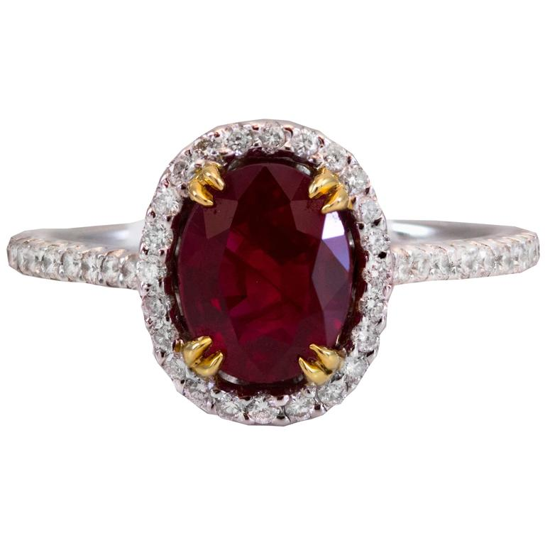 2.14 Carat Oval Ruby Diamond Gold Ring For Sale