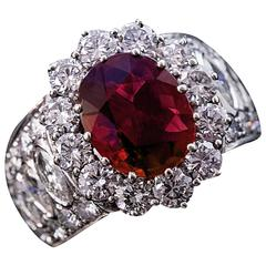 Ruby Diamond White Gold Cluster Ring