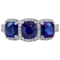 3.25 Carat Three-Stone Sapphire Diamond Gold Ring