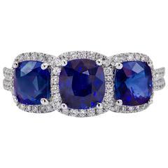 3.25 Carat Three Stone Sapphire Diamond Gold Ring