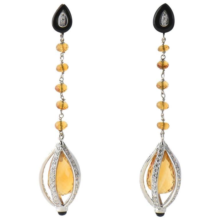 Citrine Onyx and Diamond Drop Gold Earrings