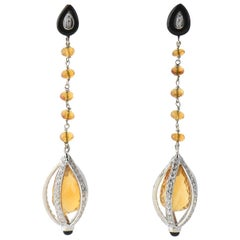 Citrine Onyx and Diamond Drop Gold Earrings