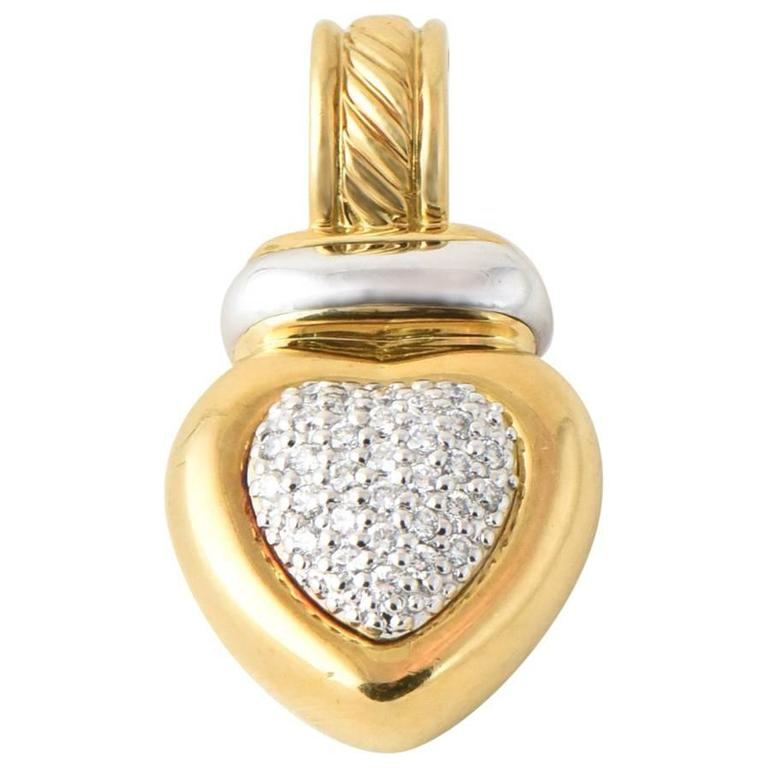 David Yurman Diamond Gold Heart Enhancer Pendant For Sale