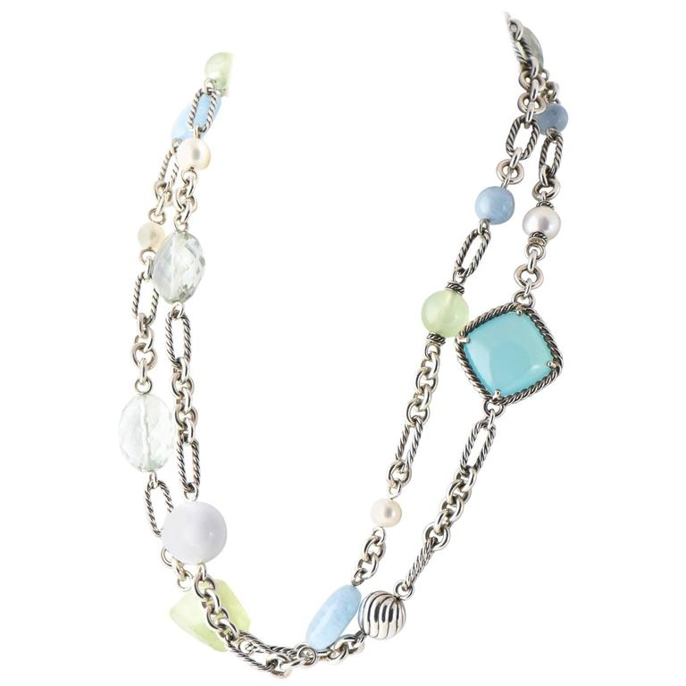 David Yurman Aqua Chalcedony, Prasiolite, Pearl, Agate and Silver Necklace