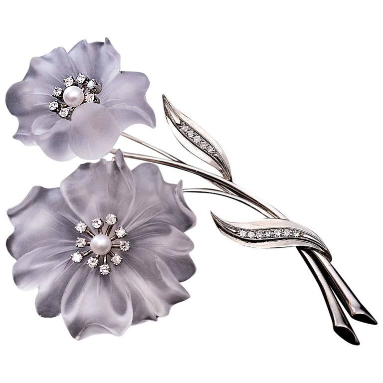 Rock Crystal Diamond Pearl Flower Brooch