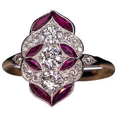 Early Art Deco Diamond Ruby Ring