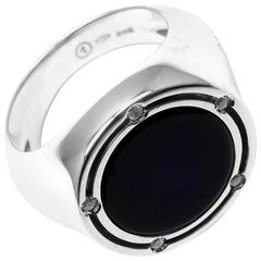 Damiani Brill Diamond Black Onyx Large White Gold Ring