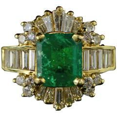 2.17 Carat Emerald & Diamond Gold Ring