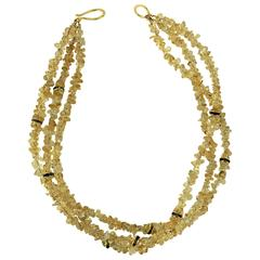 Three strands of Citrine Chips with Crystal Rondels Necklace
