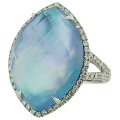 Lapis Lazuli, Mother-of-Pearl and White Topaz Triplet Ring