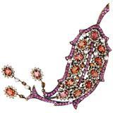 Laura Munder Sapphire Pearl Diamond Gold Brooch