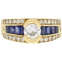 0.80 Carat Diamond Sapphire Yellow Gold Ring