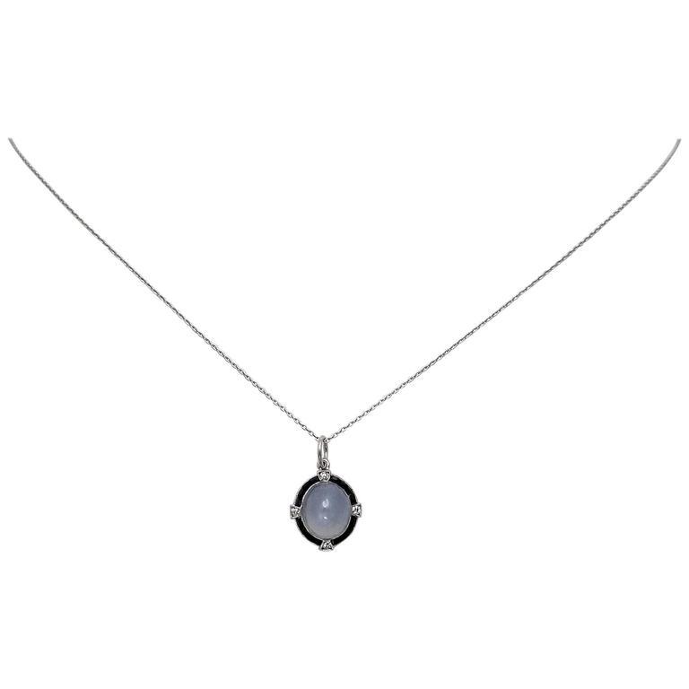 Antique Art Deco Platinum Star Sapphire, Diamond and Black Onyx Pendant and Chai 1