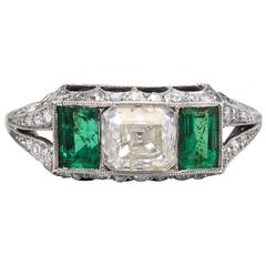 Antique 1.00 Carat Square Diamond Emerald Onyx Platinum Ring