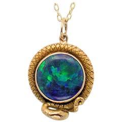 Art Nouveau Black Opal Pendant