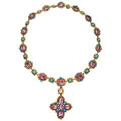 Antique Georgian Topaz Turquoise Gold Necklace