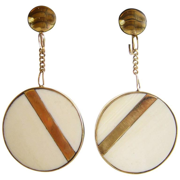 1960s Bone Gold Modernist Dangling Earrings