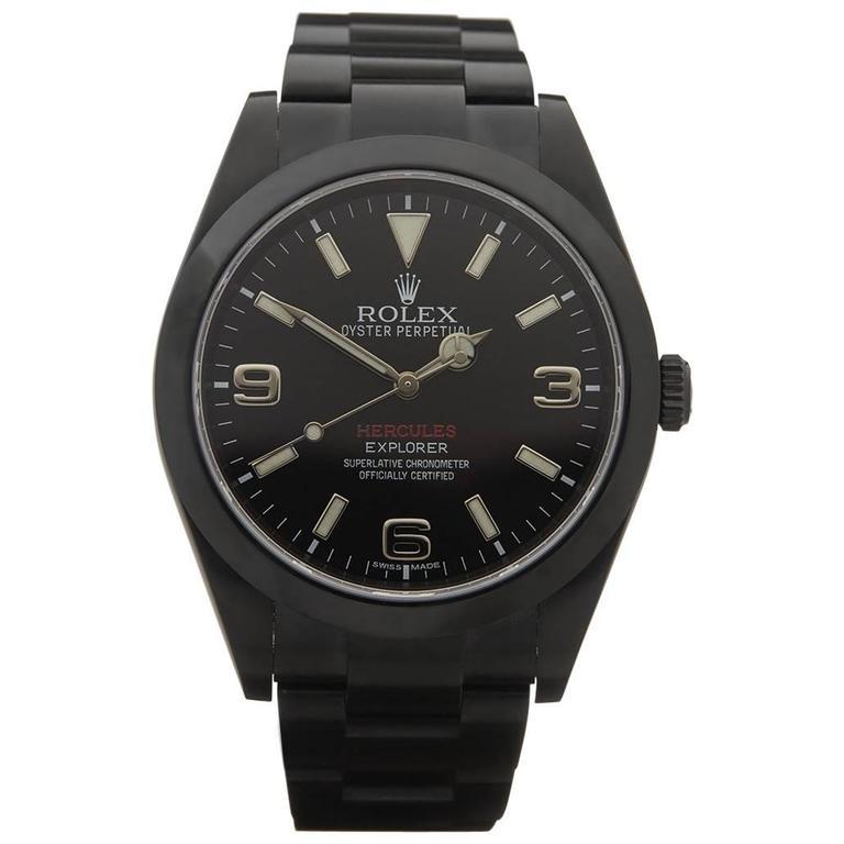 Rolex Stainless Steel Explorer I Hercules Custom DLC Coated Wristwatch