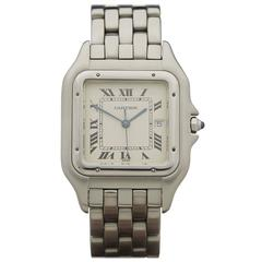 Cartier Stainless Steel White Dial Quartz Wristwatch 1300 2000s