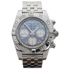 Breitling Stainless Steel Diamond Chronomat Automatic Wristwatch