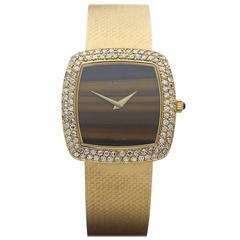 Delaneau Yellow Gold Diamond Bezel Tiger-Eye Dial Mechanical Wind Wristwatch