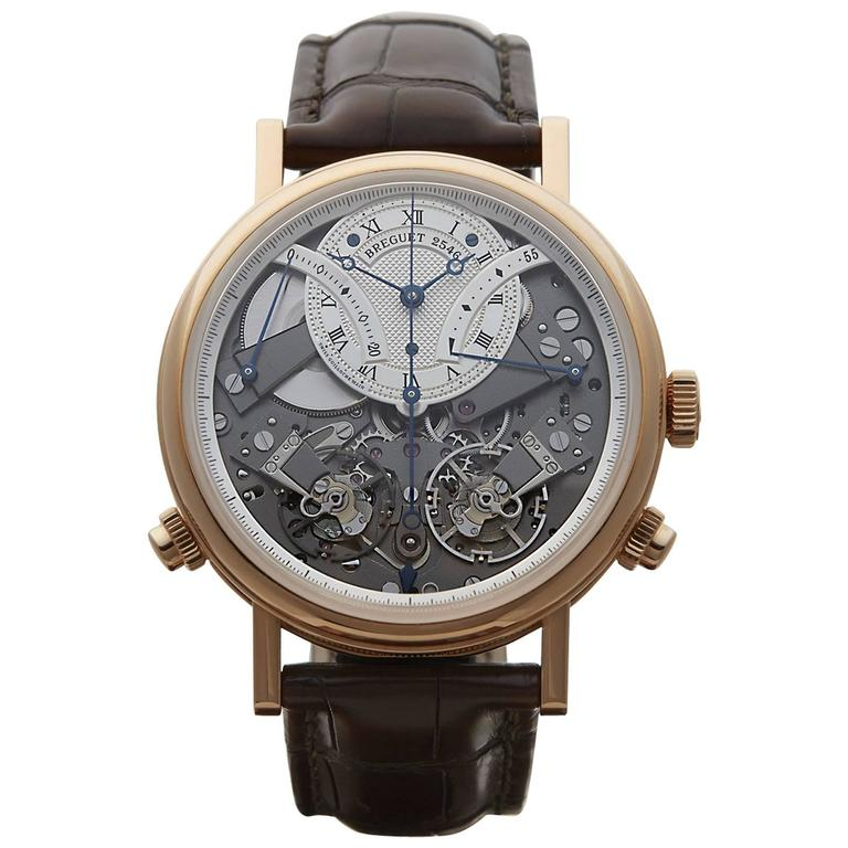 Breguet Rose Gold Skeleton Dial Tradition Mechanical Wind Wristwatch