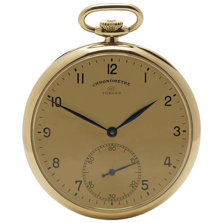 IWC Turler Yellow Gold Mechanical Wind Pocket Watch 1930s