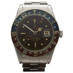 Rolex Stainless Steel GMT-Master Bakelite Pepsi Tropical Dial Wristwatch