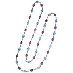 Laura Munder Pink Tourmaline Blue Topaz Chain White Gold Necklace