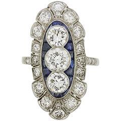 Art Deco Diamond & Sapphire Cluster Ring, c.1920s
