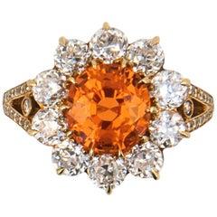 Laura Munder Mandarin Garnet Mine Cut Diamond Gold Ring