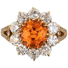 Laura Munder Mandarin Garnet Mine Cut Diamond Gold Ring