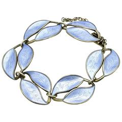 Light Blue Enamel Leaf Bracelet in Sterling Silver