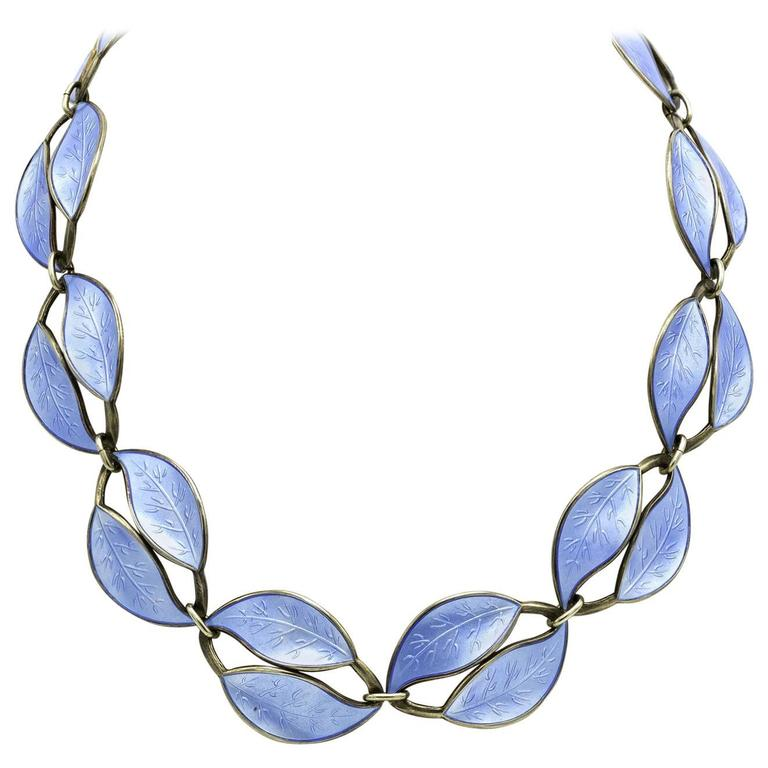 Light Blue Enamel Guilloche Leaf Antique Necklace in Sterling Silver