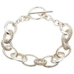 Pave Diamond and Sterling Silver Link Bracelet