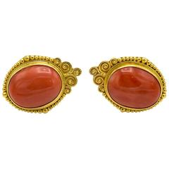 Natural Coral Gold Stud Earrings