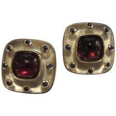 Rock Cristal and  Rubelite Earrings