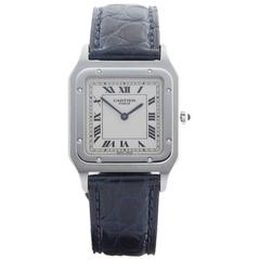 Cartier Paris Platinum Santos Dumont Mechanical Wind Wristwatch