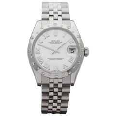 Rolex White Gold Stainless Steel Datejust Spotty Diamond Bezel Automatic Watch